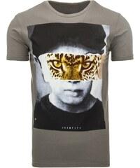 Šedé pánské tričko s krátkým rukávem leopard