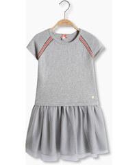 Esprit Pletené šaty s lesklými pruhy a síť. sukní