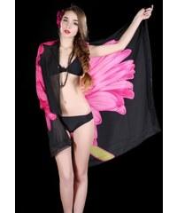 LM moda Sarong, plážový šátek černý s květy 016