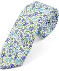Trendhim Bavlněná kravata s modrými květy U1-2-7204