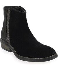 Boots Enfant fille Reqins en Cuir velours Noir