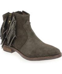 Boots Femme Reqins en Cuir velours Marron