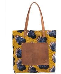 Kožená vintage maxi taška O My Bag Lou's Print, hořčicová