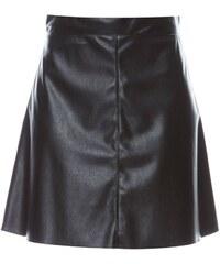 Benetton Gonna - Jupe trapèze en simili cuir - noir