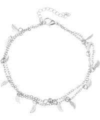 Lesara 2er-Set Zweifach-Fußkette mit Blatt-Anhängern - Silber