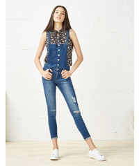 salopette jean super skinny medium blue Jennyfer