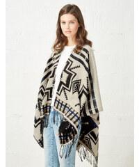 cape motif navajo beige, noir et bleue Jennyfer