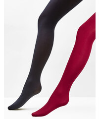 collants basic noirs et bordeaux Jennyfer