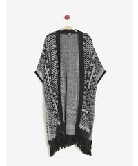 gilet forme kimono noir et blanc Jennyfer