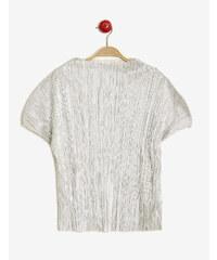 tee-shirt plissé brillant argenté Jennyfer