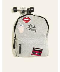 sac à dos badges brodés jersey gris chiné Jennyfer