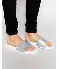 Slydes - Flip-Flops im Metallic-Look - Silber
