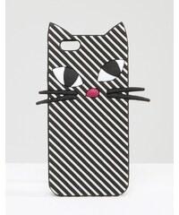 Lulu Guinness - Kooky - Gestreifte Hülle für iPhone 6/6s mit Katzendesign - Schwarz