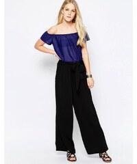 Only - Alex - Pantalon large avec ceinture - Noir
