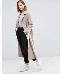 ASOS - Manteau long en laine avec boucle en D - Taupe
