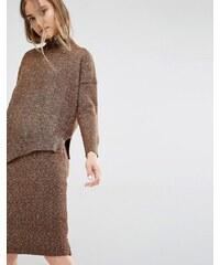 Paisie - Asymmetrischer Pullover aus meliertem Strickstoff - Braun
