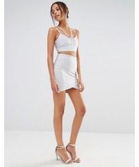 Missguided - Mini-jupe bandage portefeuille de qualité supérieure - Argenté