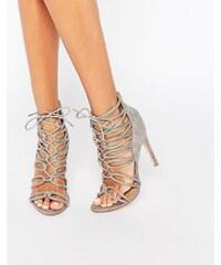 Public Desire - Pearl - Graue Sandaletten zum Schnüren - Grau