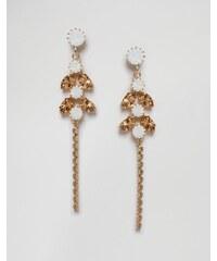 Krystal - Boucles d'oreilles à pendentif en cristaux Swarovski - Blanc