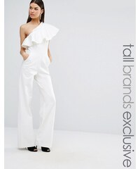 Taller Than Your Average TTYA - Michelle - Combinaison oversize asymétrique avec volants - Noir - Blanc