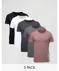 ASOS - Lot de 5 t-shirts moulants - Multi