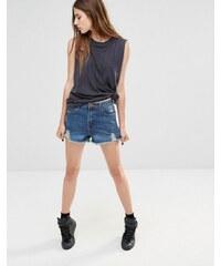 Liquor & Poker - Short décontracté taille haute en jean avec ourlet effiloché - Bleu
