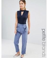 Alter Petite - Pantalon de tailleur avec lien à la taille - Bleu