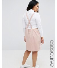 ASOS CURVE - Kurzes Jeans-Pinafore-Kleid in Rosa mit Rückenausschnitt - Rosa