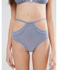 ASOS - Bas de bikini taille haute à lanières découpées en dentelle avec perles - Bleu