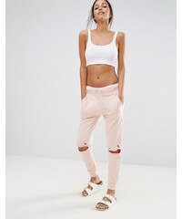 Missguided Distressed Knee Track Pants - Beige