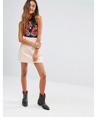 Young Bohemians - Mini-jupe en similicuir - Beige