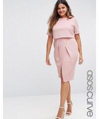 ASOS CURVE - Doppellagiges, figurbetontes Kleid mit Struktur - Rosa