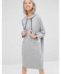 Monki - Sweatkleid mit Kapuze - Grau