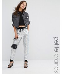 Glamorous Petite All Over Sequin Track Pant - Argenté