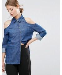 ASOS - Chemise en jean à épaules dénudées - Bleu foncé délavé - Bleu