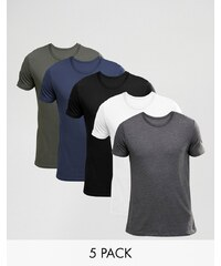 ASOS - Lot de 5 t-shirts - Blanc/noir/gris anthracite/vert/bleu marine - Multi