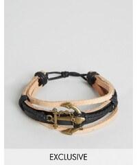 Reclaimed Vintage - Bracelet en cuir avec ancre - Marron