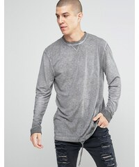 ASOS - T-shirt long manches longues en style lin avec délavage à l'acide et ourlet avec cordon - Violet