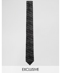 Reclaimed Vintage - Cravate fine motif lignes - Noir - Noir