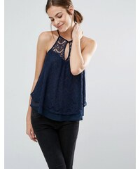 Abercrombie & Fitch - Camisole mit Spitzenbesatz - Marineblau