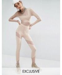 Bones - Leggings avec empiècements en tulle - Beige
