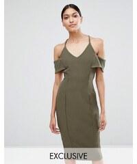 Vesper - Schulterfreies Bleistiftkleid mit Trägern - Grün