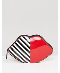 Lulu Guinness - Faltbare Einkaufstasche mit Lippenmotiv - Schwarz