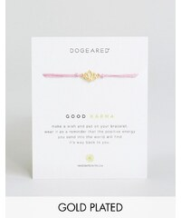 Dogeared - Good Karma - Exklusives Wunscharmband aus rosa Seide mit vergoldetem Element, verstellbar - Gold