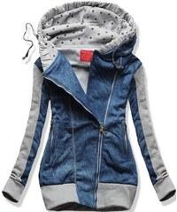 Sweatjacke blau D269 Jeans Motiv