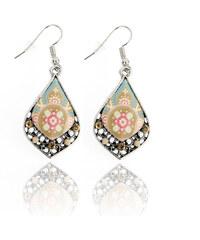 Náušnice kapičky etno styl ornamenty a krystaly