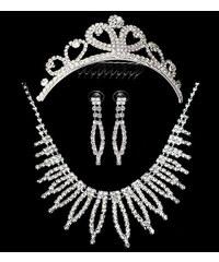 Štrasová sada Spike náhrdelník, náušnice a korunka