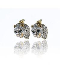 Náušnice leopard s krystalky zlaté a stříbrné