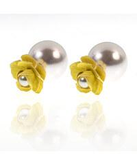 Náušnice pusety květina s perlou