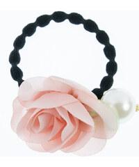 Gumička do vlasů velká s květinou a perlou